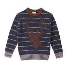 Kid Boys' Stripe Antler Sweater