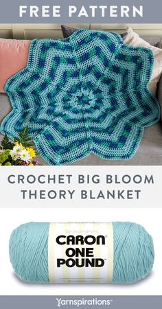 Free Crochet Big Bloom Theory Blanket pattern using Caron One Pound yarn. Express your love of flowers with this whimsical, oversized crochet blanket! Worked in the round to form 8 segments, each petal is separated by a column of chain stitches that are all linked together to form a decorative ridge that radiates from the center to the outer edge of the flower. #Yarnspirations #FreeCrochetPattern #CrochetAfghan #CrochetThrow #CrochetBlanket #CaronYarn #CaronOnePound Afghan Patterns, Crochet Blanket Patterns, Knit Or Crochet, Free Crochet, Caron One Pound Yarn, Caron Yarn, Chain Stitch, Theory, Knitted Hats