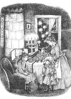 Ilon Wikland's illustration for Madiken Illustrations And Posters, Children's Book Illustration, Christmas Past, Vintage Christmas, Astrid Lingren, Storybook Homes, Monochrom, Christmas Illustration, Children's Literature