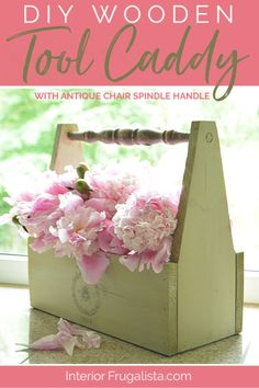How to Build a Wooden Garden Tool Caddy with Antique Chair Spindle Handle and lovely vintage French typography for budget-friendly shabby chic French Country farmhouse decor by Interior Frugalista #woodentoolcaddy #diywoodprojects #woodencaddybox #woodtoolbox #woodcrafts #countryfarmhouse