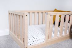 US Crib Size Toddler bed Play bed frame Children bed Bunk bed Wood Floor bed Wooden bed Wood Montessori bed Gift, Bed frame