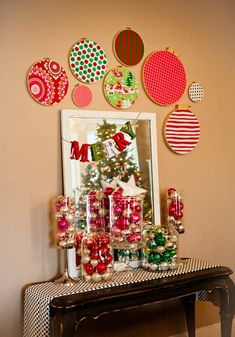 Love The Various Ornaments In Jars and of course loving on the mirror!!