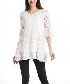 Look what I found on #zulily! White Lace Ruffled Tunic #zulilyfinds