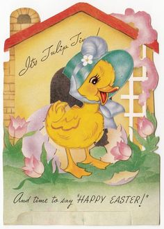 Vintage Greeting Card Easter Cute Chick Moveable A-Meri-Card Die-Cut a245