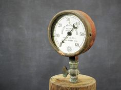 Vintage Working Steam Pressure U.S. Gauge CO Cast Metal Brass Mueller Heating Industrial Machine Age Crescent Moon Pointer Steampunk by Misinterpreted on etsy.
