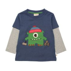 Frugi Monster Layered Top Long Sleeve T-Shirt - Indigo