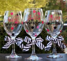 Cute Pink, Black and White Wedding Glasses.
