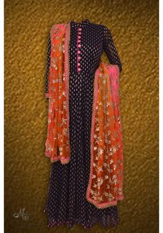 Pretty navy blue benarasi frock suit complemented with sippi work dupatta