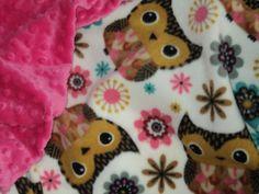 "Owls Baby Blanket - Fleece And Minky Security Blanket - 19"" X 23"" - Lovey - Travel Blanket - Baby Girl Blanket - Baby Shower"