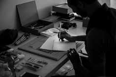 Putting pen to paper on the set of our shoot with Paul Antonio :: #CalligrapherEdition