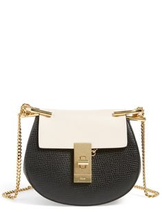 With the goldtone hardware and two-toned leather, this compact Chloé saddlebag is sure to lend a luxe, modern downtown-chic look to the street-style ensemble. #nordstrom @nordstrom