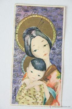 POSTAL ESTAMPA DIBUJO P.LINARES VIRGEN MARIA CON EL NIÑO JESUS ASIA CHINA (Postales - Religiosas y Recordatorios)
