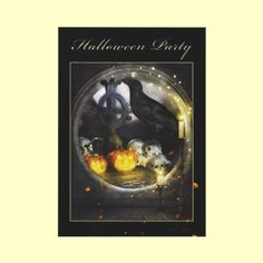 Mystical Raven Spooky Halloween Party Invitation (Single card, double sided) by XG Designs NYC. $2.45 each, less if ordered in multiples. #raven #halloween #invitation