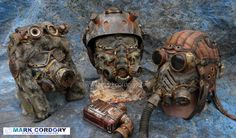 Post Apocalyptic Mad Max style helmets and masks for LARP - Airsoft Created by Mark Cordory Creations www.markcordory.com