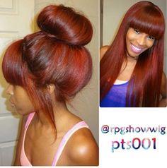 High bun with wig
