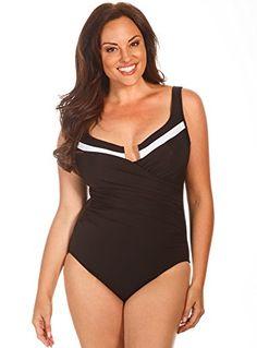 b438a4a4ce603 Miraclesuit Women s Plus Colorblock Escape Tummy Control One Piece Swimsuit