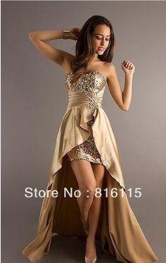 New Arrival Custom Made Floor Length Satin Beaded Dress Short Front Long Back Gold Prom Dress 2014 Free Shipping