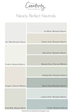 No color is perfect but there are many nearly perfect neutral paint colors that work consistently well and in a variety of lighting situations. interior decor paint colors Nearly Perfect Neutral Paint Colors Interior Paint Colors, Paint Colors For Home, Paint Colours, Interior Design, Farmhouse Paint Colors, Beach Paint Colors, Beach House Colors, Kitchen Paint Colors, Entry Paint Colors