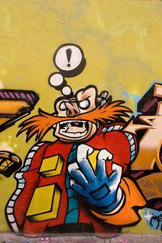 Dr Robotnik Graffiti - Video Game Street Art