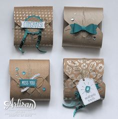 Boxes made with the Envelope Punch Board ~Chantal de Kaste