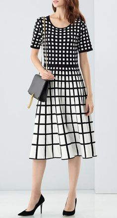 Black & White Knitted Plaid Dress
