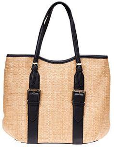 25d1337cd482 Isaac Mizrahi Womens Fashion Designer Handbags Lucille Leather Straw Beach  Tote Shoulder Bag Black Straw Tote