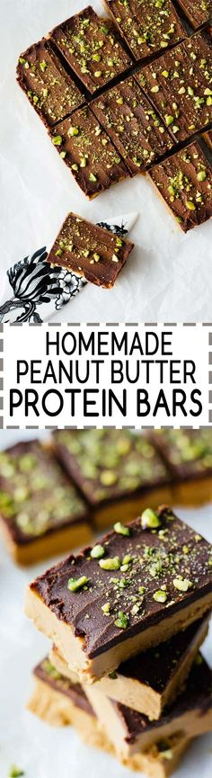 Easy Homemade Peanut Butter Protein Bars! Vegan, gluten-free, refined sugar free, 5 ingredients. All clean eating ingredients are used for this healthy protein bar recipe. Pin now to make this healthy snack later!