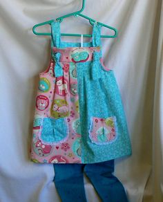Girls SunDress or Jumper Size 3 Blue and Pink by MontanaTwirls, $29.00