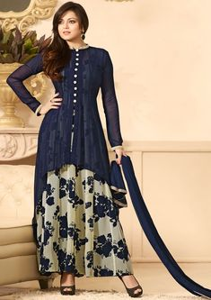Drashti Dhami Midnight Blue and Off White Anarkali Suit                                                                                                                                                      More
