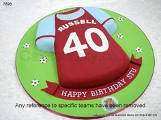 Shaped Hammers claret and blue West Ham football shirt cake, name and age for this supporters favourite team. Shirts are made to the latest strip, choose the strip for your favourite team Dad Birthday Cakes, 40th Birthday Parties, Boy Birthday, Birthday Ideas, Football Cakes, Soccer Cakes, Shirt Cake, Star Wars Cake, Blowing Bubbles