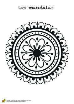 Un mandala rond avec une fleur à l'intérieur et des pétales à l'extérieur, coloriage pour enfants Mandala Coloring, Colouring Pages, Adult Coloring Pages, Coloring Books, Mandala Design, Mandala Pattern, Zentangle Patterns, Mandala Drawing, Mandala Art