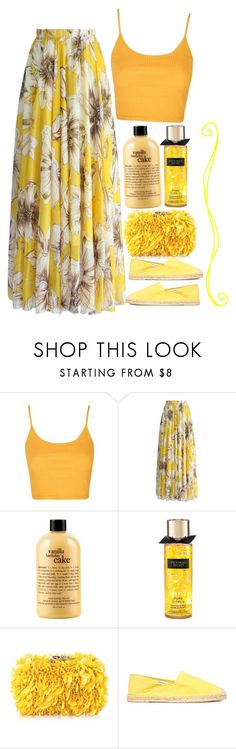 """yellow paradise"" by dreaming-wonderland ❤ liked on Polyvore featuring Topshop, Chicwish, philosophy, Victoria's Secret, Corto Moltedo, Soludos and TropicalVacation"