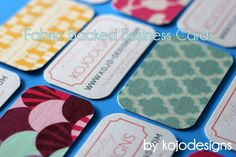 fabric backed business cards.  when i get business cards... i'm doing this!
