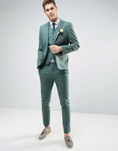 Discover men's suits with ASOS. Shop for a range of men's suits, blazers, dinner suits and mix and match suit jackets & suit trousers for every occasion. Asos Wedding, Wedding Men, Wedding Attire, Wedding Dress, Mens Tailored Suits, Mens Suits, Green Suit Men, Green Wedding Suit, Summer Wedding Suits