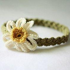 crochet pattern - daisy braided headband