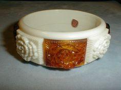 West Germany hard plastic rootbeer cream bangle bracelet