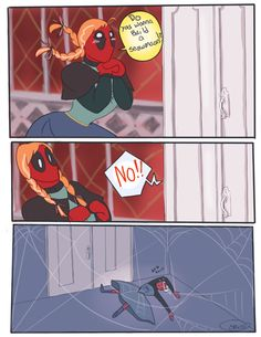 2 my fandoms rolled into deadpool is anna and spiderman is elsa. but deadpool is a dead guy(died from cancer) who came back to live. AND HE HAS HAIR NOW! Marvel Jokes, Marvel Funny, Marvel Dc Comics, Marvel Avengers, Dc Memes, Funny Memes, Hilarious, It's Funny, Funny Pics