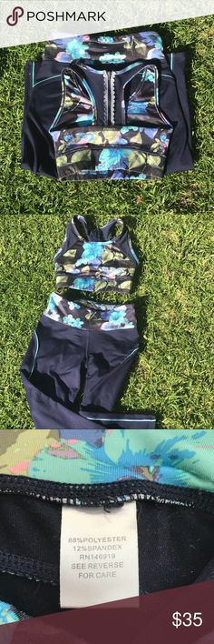 Jussica Simpson workout outfit Blue & green colors with floral accents; Size small, but can also be worn as an extra small. In good condition!! Jessica Simpson Other