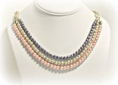 Pink Ivory and Purple Layered Pearl Necklace  by RomanticThoughts