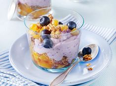 Heidelbeer-Aprikosen-Schichtcreme mit Haferflocken-Mandel-Crunch Rezept