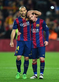 Lionel Messi Photos - Javier Mascherano and Lionel Messi of Barcelona celebrate victory after the La Liga match between FC Barcelona and Real Madrid CF at Camp Nou on March 2015 in Barcelona, Spain. - FC Barcelona v Real Madrid CF - La Liga Fc Barcelona, Barcelona Soccer, Barcelona Catalonia, Messi And Neymar, Cristiano Ronaldo Lionel Messi, Steven Gerrard, Real Madrid Manchester United, Premier League, Chelsea