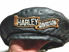 Harley Davidson Black Leather Hat News Boy Biker Draw String Adjustable New York