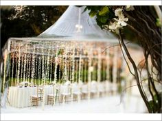 such a cute idea to decorate a tent for an outside reception! (totally using) stringing lights flowers.