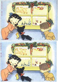 松本かつぢ「クリスマスカード」1952(S27)12ふろく   商品詳細   まんだらけオークション