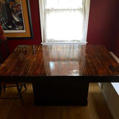 Table made from reclaimed bowling alley floor. Metal Pipe, Wood Desk, Wood Creations, Bowling, Barn Wood, Cool Designs, Dining Table, Iron, It Is Finished