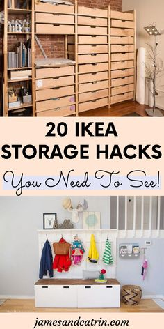 If you're anything like us then you are constantly battling against lack of storage in your home. There are so many clever solutions available to you, but one method we love are Ikea storage hacks. By using an Ikea storage hack you can create great looking, useful storage quickly and cheaply. Ikea hacks are perfect for making DIY that little bit easier as you can build off an already well-made piece of furniture or accessory. #ikeastoragehacks #ikeahack #storageideas Ikea Bed Hack, Ikea Furniture Hacks, Ikea Hacks, Kids Storage Units, Ikea Storage, Storage Hacks, Ikea Bed Slats, Dyi, Ikea Tarva Dresser
