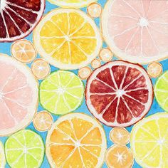 """Print of an Original Watercolor and Ink Painting """"Citrus"""""""