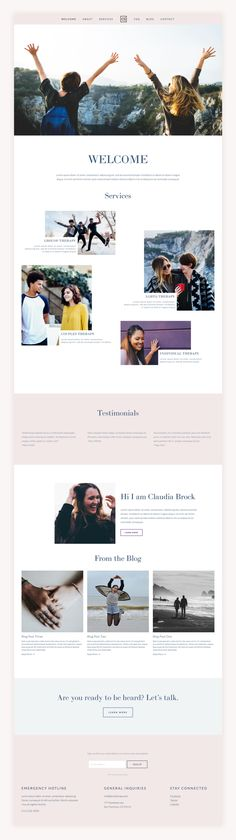 Claudia Therapy is a clean and polished template. Pristine typography and enticing images make this design fun and bold to help you stand out from the crowd. squarespace | therapy | therapy website |