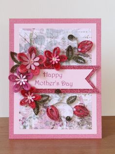 128 best quilling images on pinterest quilling quilling cards and handmade quilling pink greeting happy mothers day card with quilled flowers mothers day m4hsunfo