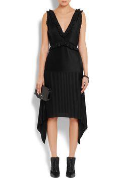 Givenchy | Pleated midi dress in black stretch-satin | NET-A-PORTER.COM